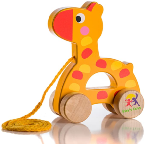 16. Wooden pull along giraffe toy