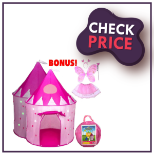 5 Piece Princess Castle Girls Pop Up Play Tent And Dress Up Costume Bundle