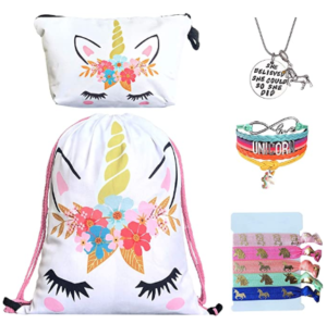 Unicorn Gifts for Girls- Unicorn DrawString backpack, makeup